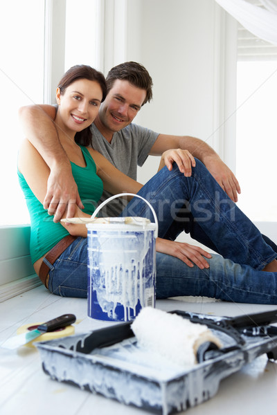 Couple maison homme maison peinture peinture Photo stock © monkey_business