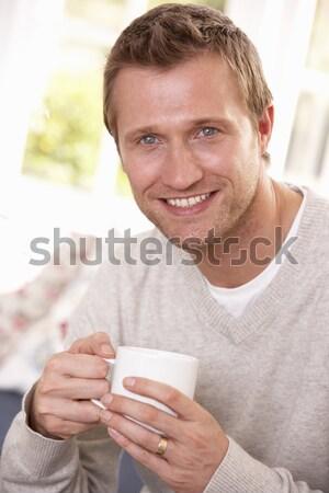 Man warme drank koffie haren chocolade drinken Stockfoto © monkey_business