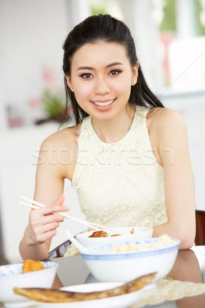Stockfoto: Jonge · chinese · vrouw · vergadering · home · eten