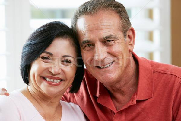 Retrato feliz casal de idosos casa mulher mulheres Foto stock © monkey_business