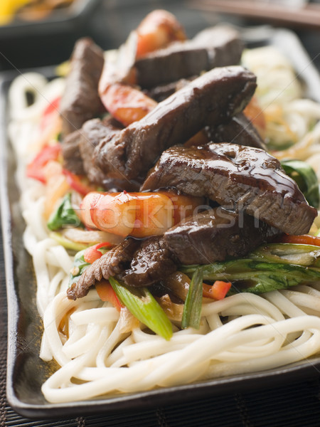 Teriyaki Beef Fillet and Tiger Prawns with Udon Noodles Stock photo © monkey_business