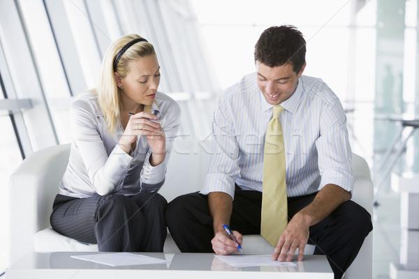 Dois sessão escritório entrada falante Foto stock © monkey_business