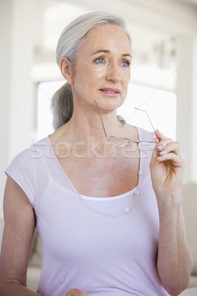 Foto stock: Mulher · óculos · doente · visão · senior · cor