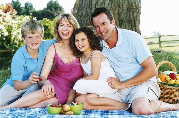 Stockfoto: Familie · vergadering · buitenshuis · picknick · glimlachend · kinderen