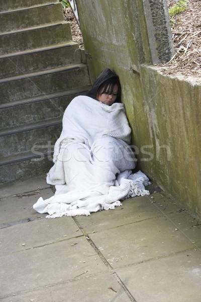 Hajléktalan lány alszik durva nő utca Stock fotó © monkey_business