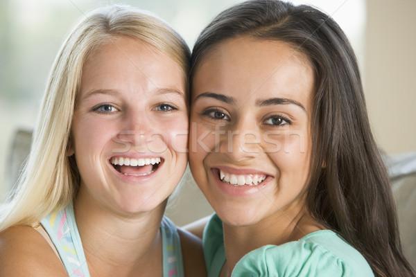 Dois sorridente amigos meninas adolescente Foto stock © monkey_business