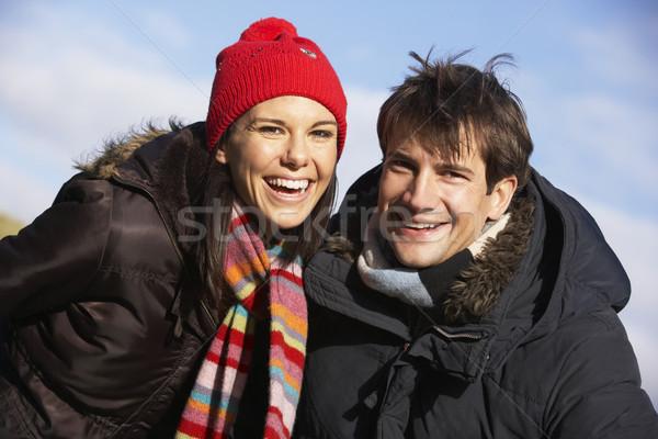 Pár nevet park együtt férfi boldog Stock fotó © monkey_business