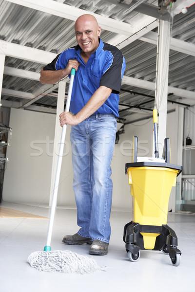 Zdjęcia stock: Czystsze · biuro · piętrze · działalności · człowiek · pracy