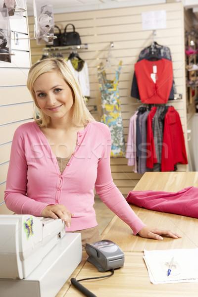 Photo stock: Homme · ventes · assistant · vêtements · magasin · femme