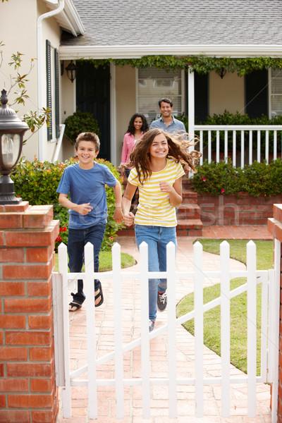 Hispanic family outside home Stock photo © monkey_business