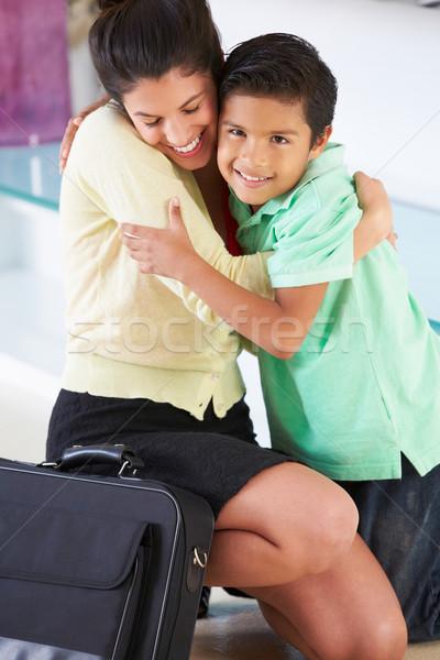 Zoon moeder terugkeren werk kinderen liefde Stockfoto © monkey_business