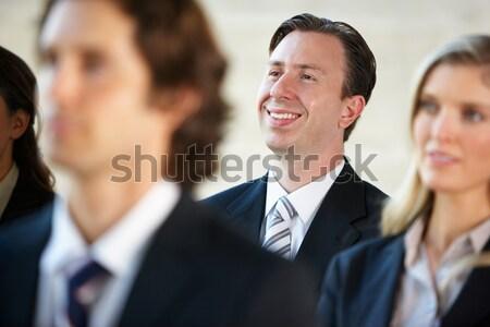 Сток-фото: бизнесмен · прослушивании · оратора · конференции · бизнеса · женщину