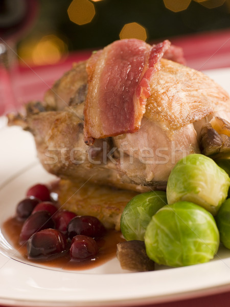 Roast Partridge Potato Cake Brussel Sprouts and Cranberry Jus Stock photo © monkey_business