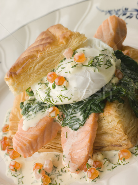 Seared Salmon Spinach and a Poached Egg in a Vol-au-Vent Case wi Stock photo © monkey_business