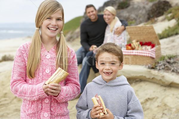 Stockfoto: Familie · dining · strand · vrouw · meisje