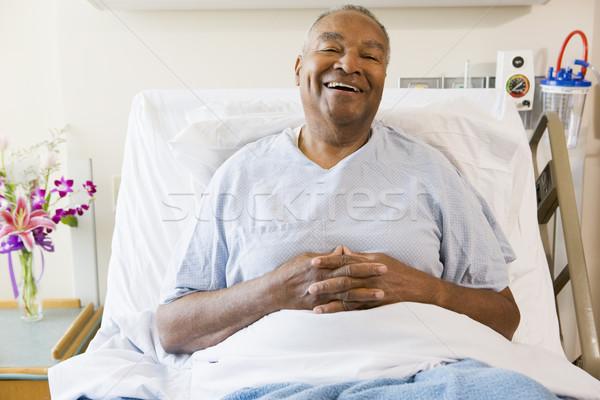シニア 男 座って 病院 健康 薬 ストックフォト © monkey_business