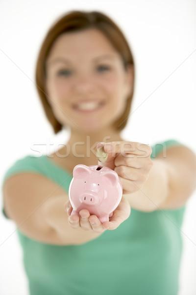 Nő tart persely rózsaszín személy bankügylet Stock fotó © monkey_business