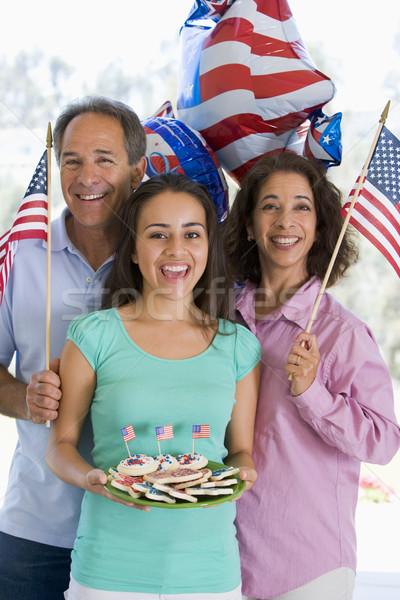 Aile açık havada dördüncü bayraklar kurabiye gülen Stok fotoğraf © monkey_business