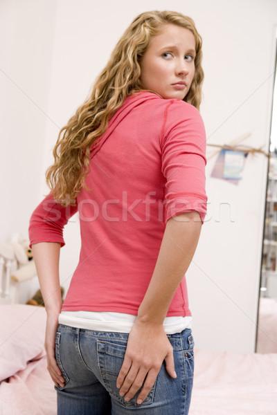 Foto stock: Preocupado · tamaño · detrás · adolescente · dormitorio