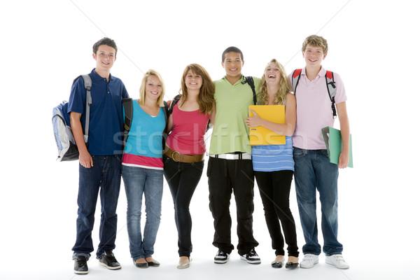 Foto stock: Grupo · tiro · adolescente · escolas · crianças · feliz