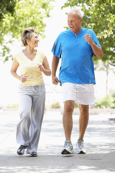 ストックフォト: ジョギング · 公園 · 男 · 幸せ · カップル
