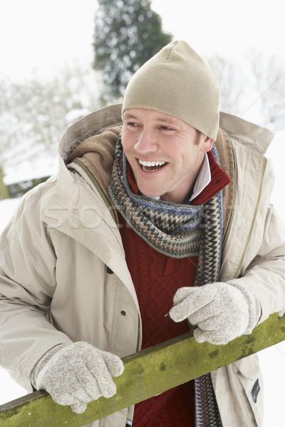 Сток-фото: человека · Постоянный · за · пределами · пейзаж · снега · зима