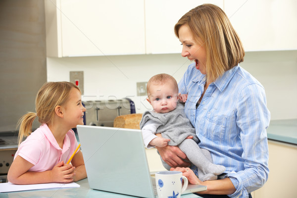 Mother with children using laptop in kitchen Stock photo © monkey_business