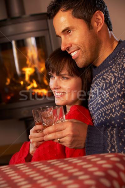 Orta yaşlı çift oturma kanepe izlerken tv Stok fotoğraf © monkey_business