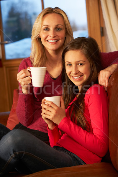 Stockfoto: Portret · moeder · dochter · ontspannen · sofa · samen