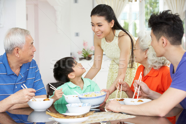 Portrait chinois famille manger repas ensemble Photo stock © monkey_business