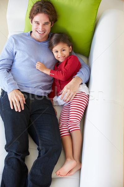 Stockfoto: Vader · dochter · ontspannen · sofa · kinderen