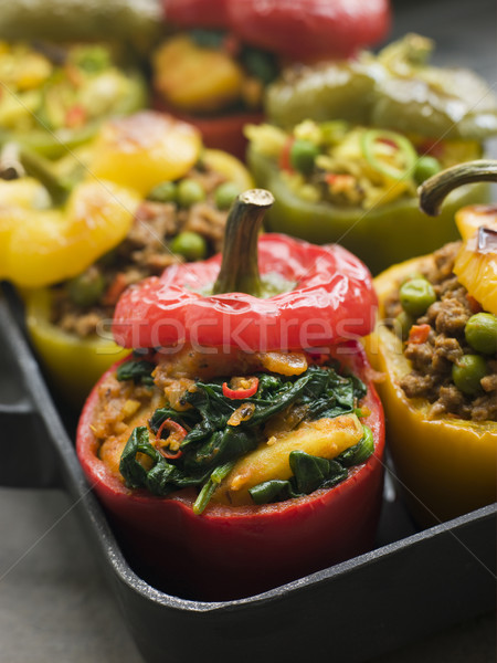 Bell Peppers stuffed with Keema Sag Aloo and Vegetable Pilau Stock photo © monkey_business