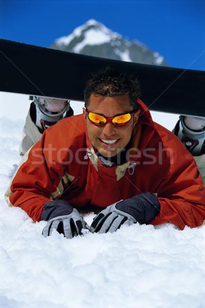 Foto stock: Joven · toma · romper · snowboard · invierno · sonriendo