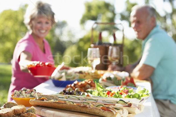 Stock fotó: Pár · ebéd · freskó · étel · boldog · asztal
