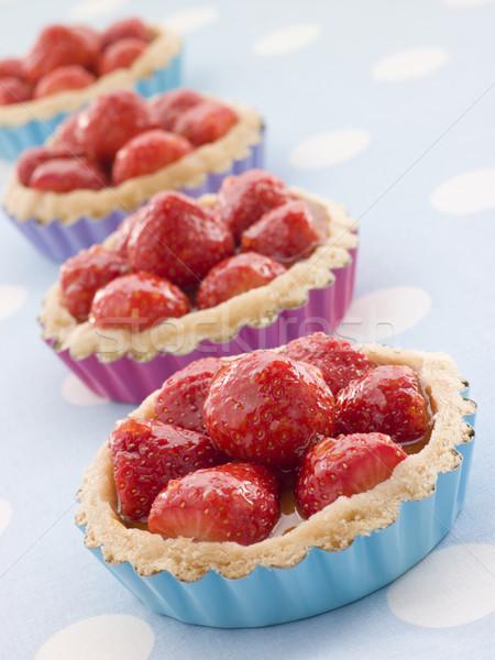 Aardbei vla kinderen vruchten koken dessert Stockfoto © monkey_business