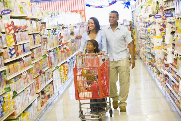 Foto stock: Família · compras · supermercado · mulher · menina