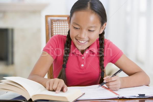 Ragazza compiti per casa bambini bambino colore studiare Foto d'archivio © monkey_business