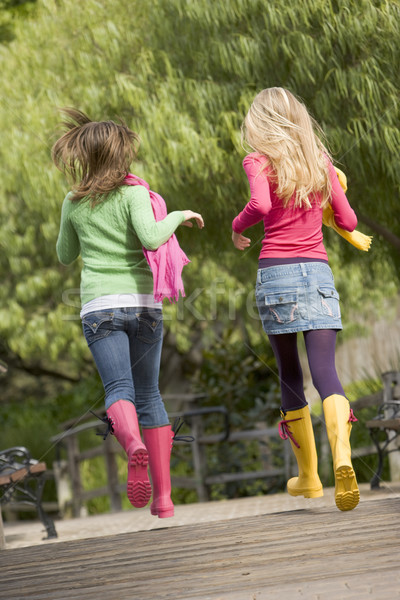 Pair Of Teenage Girls Jogging In Park  Stock photo © monkey_business