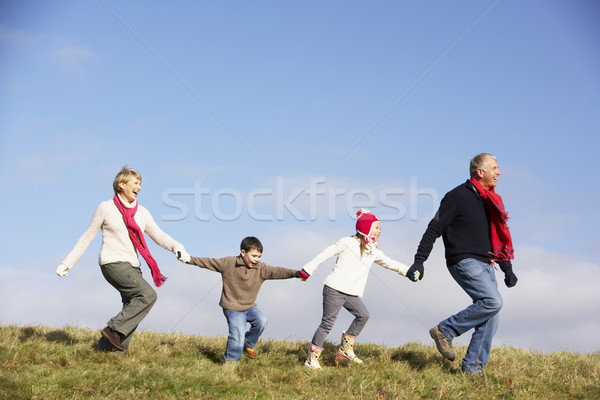 Grands-parents petits enfants courir parc hiver marche Photo stock © monkey_business