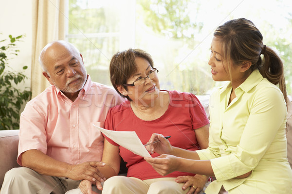 Senior Couple Talking To Financial Advisor At Home Stock photo © monkey_business