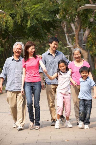 Portret chińczyk rodziny spaceru parku wraz Zdjęcia stock © monkey_business