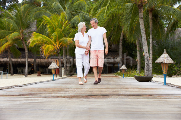 Senior Couple Walking On Wooden Jetty Stock photo © monkey_business
