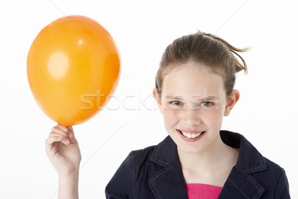 Stock fotó: Fiatal · lány · tart · buli · léggömb · gyerekek · gyermek