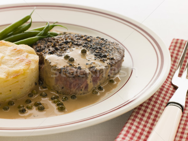Filet Mignon au Poirve' with French Beans and Pomme Anna Stock photo © monkey_business