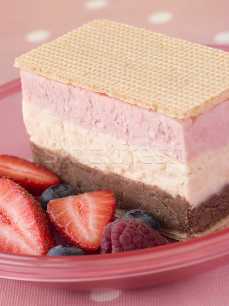 Neapolitan Ice Cream with Wafer Biscuits and Berries Stock photo © monkey_business
