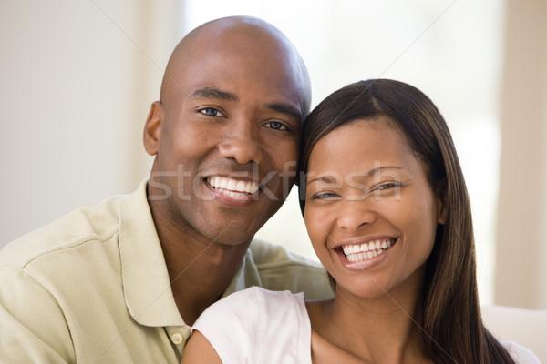 Foto d'archivio: Coppia · soggiorno · sorridere · donna · uomo · felice