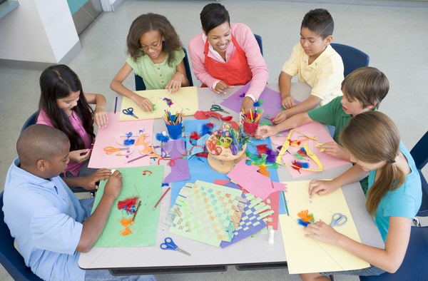Elementary school art lesson Stock photo © monkey_business