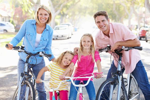 家族 サイクリング 郊外の 通り 少女 道路 ストックフォト © monkey_business