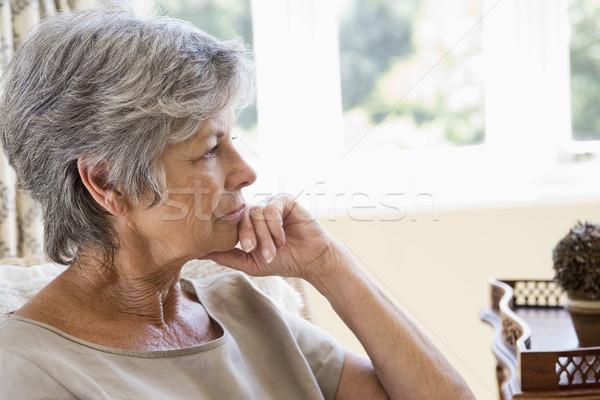 Stockfoto: Vrouw · woonkamer · denken · salon · persoon · glimlachend