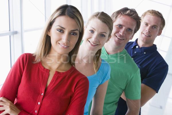 4人 立って 廊下 笑みを浮かべて 男 チーム ストックフォト © monkey_business